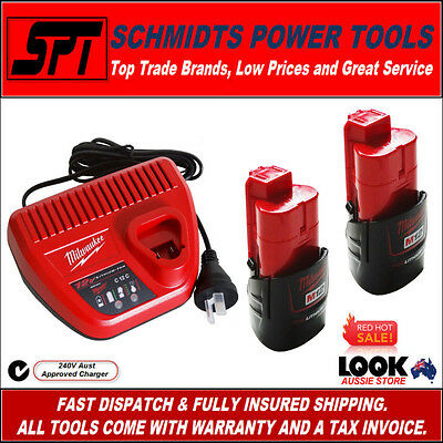 2x MILWAUKEE M12 12V 1.5AH RED LITHIUM BATTERIES & C12C CHARGER 240V AUS VERSION