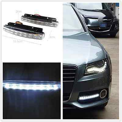 2 Pcs 8 LED Euro Daytime Running Light DRL Daylight Fog Lamp Day Lights For Audi