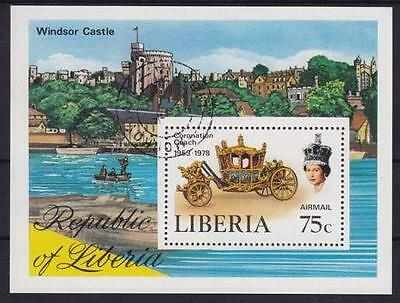 Liberia Kutsche Royal Winsor Schloß Castle Block 1978, Queen