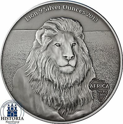 2013 - LION 9 Silver Oz - Gabon 10,000 Francs CFA Antique Finish Coin