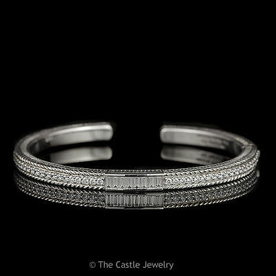 Authentic Designer Judith Ripka Sterling Silver and Cubic Zirconia Bangle