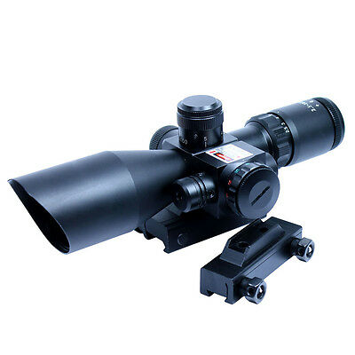 2.5-10x40 Tactical Rifle Scope Mil-dot Illuminated with Red Laser Sight - Mounts