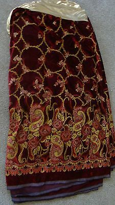 BY THE YD Vintage Crushed Red Burgundy Velvet Fabric w Silk Screened Rose Design