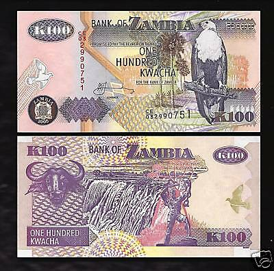 World Paper Money - Zambia 100 Kwacha @ Crisp UNC