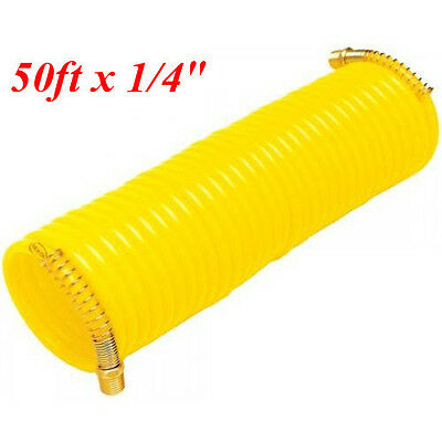 """50ft x 1/4"""" Recoil Air Hose Re Coil Spring Ends Pneumatic Compressor Tool 200psi"""
