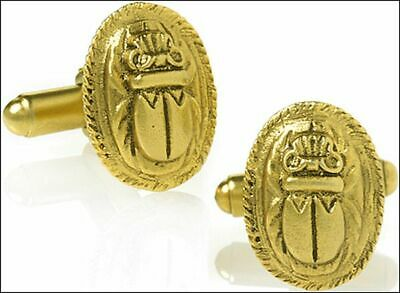 Egyptian Scarab Cufflinks 24 Karat Antique Gold-Plate over Pewter and Brass