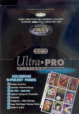 ULTRA PRO PLATINUM HOLOGRAM SERIES 9 POCKET CARD PAGES SOLD IN INCREMENTS OF 10