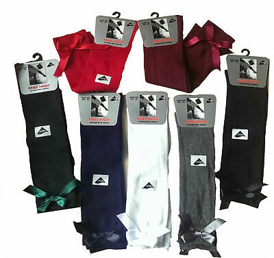 6 Girls Knee High Girls School Socks With Satin Bow all Size