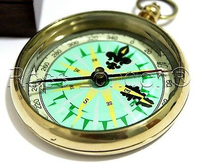 Dollond London Ship Brass Compass with wooden Box