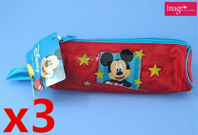 3pcs Adorable Mickey & Minnie Mouse Pencil Case Pouch Nylon Handle (KD04741x3)
