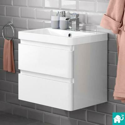 Modern Bathroom Vanity Unit Basin Sink Unit 2 Drawer Storage Cabinet Furniture