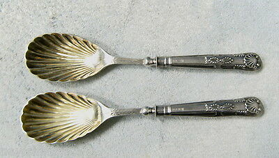 #t38.  Two 1901 Salad Spoons With Sterling Silver Handles