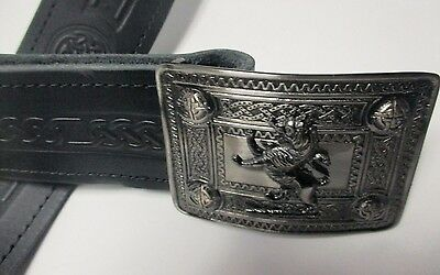NEW Celtic Embossed Black Leather Kilt Belt & Rampant Lion Buckle Scottish Men's