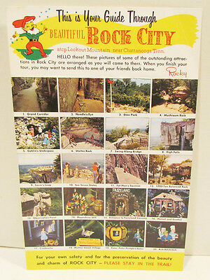 YOUR GUIDE THROUGH BEAUTIFUL ROCK CITY LOOKOUT MOUNTAIN OVERSIZED POSTCARD 1960s