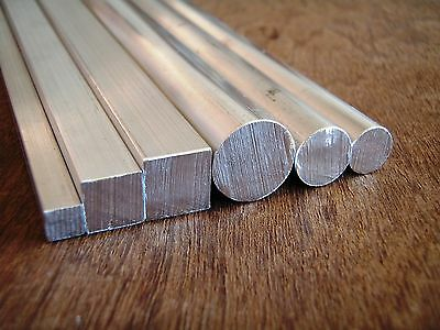ALUMINIUM Round and Square Bar 6 Piece Small Value Pack - 300mm long
