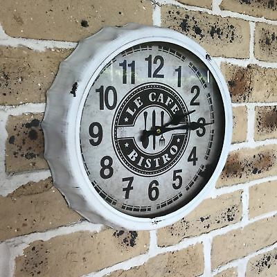Industrial/Shabby/French Kitchen Cafe/Bistro Cream Metal Wall Clock 33cm