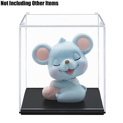 """Clear UV Acrylic Display Box Case Dustproof Plastic Tray Protection Cube 3.9""""H"""