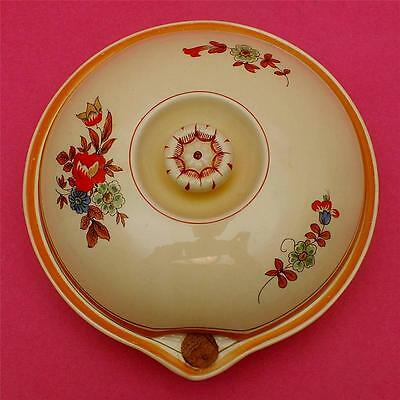 Stylish ART DECO handpainted BOOTHS pottery FLORAL pattern LIDDED WARMING PLATE
