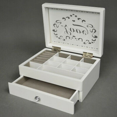 Wooden Jewellery Box 1 drawer Case Cabinet  Gift Jewelery White box LOVE