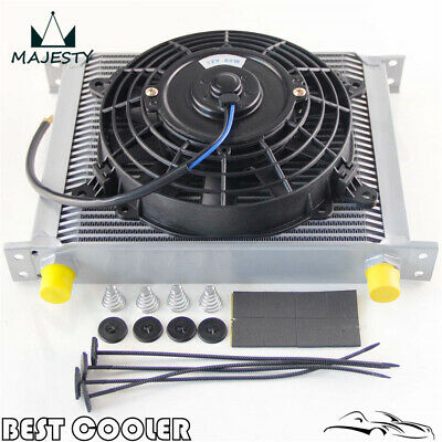 """Universal Alloy 30 Row Engine AN10 Oil Cooler+ 7"""" Electric Fan Kit Silver"""