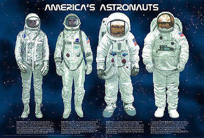 AMERICA'S ASTRONAUGHTS POSTER (61x91cm) EDUCATIONAL WALL CHART PICTURE PRINT NEW