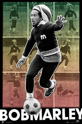 "Bob Marley POSTER ""Playing Soccer"" BRAND NEW Licensed Art"