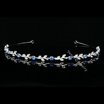 Bridal Blue Crystal Bridesmaid Flower Girl Wedding Headband Tiara 5108