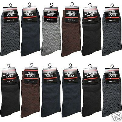 12 Pairs Mens Geometric Dress Socks Cotton Casual Work Crew Fashion Size 10-13