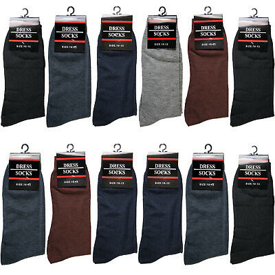 New 12 Pairs Mens Dress Socks Fashion Casual Solid Multi Color Cotton Size 10-13