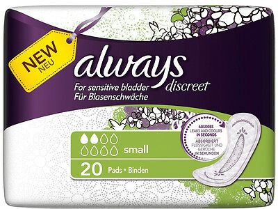 Always Discreet For Sensitive Bladder Small Pads 20 Pack