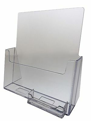"""10-pack Acrylic 8.5"""" x 11"""" Brochure Holders with Business Card Holder SHIPS FREE"""