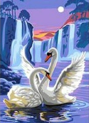 Swan Dreams Tapestry Needlepoint Canvas Royal Paris