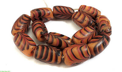 13 Feather Venetian Trade Beads Red , Orange African SALE WAS $99