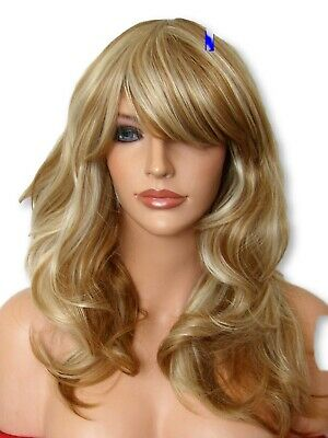 Womens Natural Fashion Party Long Wavy Curly Blonde party synthetic full wig F23