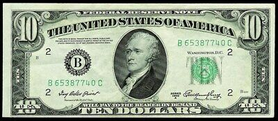 1950 A $10 New York Federal Reserve Note Fr #2011-B Crisp About Uncirculated