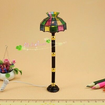 1/12 dollhouse colored Tiffany standard lamp 12 volt working light
