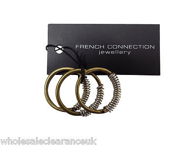Wholesale Joblot Of 10 French Connection Gold With Silver Coil Triple Rings Sjcj