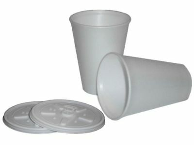 White Insulated Polystyrene Foam Cups 7 / 10 / 12 / 16 / 20 oz Cups & Lid Option