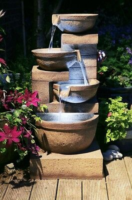 4 Tier Bowl Cascade Water Feature Fountain Natural Rock Stone Effect Garden