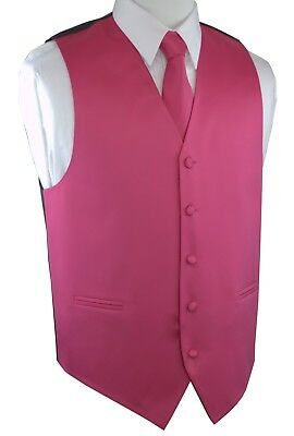 Boy's 2 - Men's 6XL. 3-Pieces Fuchsia Formal Dress Tuxedo Vest Set. Wedding Prom