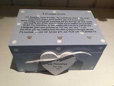 Shabby Personalised Chic Gift For Daughter On Wedding Day Jewellery Trinket Box
