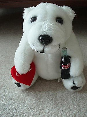 Always Coca Cola Plush Collection White Stuffed Bear with Red Satin Heart NEW
