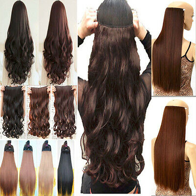 US Mega Long Full Colors 5 Clips one piece hair extensions 3/4 Full head clip in