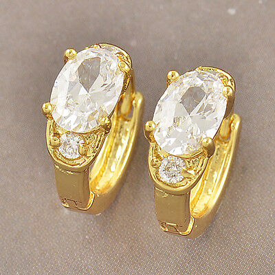 Pretty Yellow Gold Filled Bright Oval CZ Womens /Girls Stud Earrings F3178