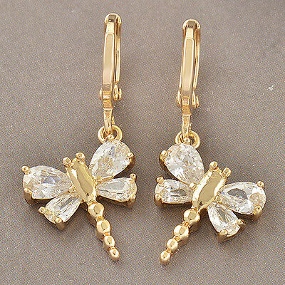 Artistic Yellow Gold Filled  CZ  Womens Dragonfly Dangle Earrings F3058