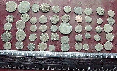 Lot of 50 Authentic Ancient Roman Coins   Mostly 3rd to 5th Centuries A.D. 12403
