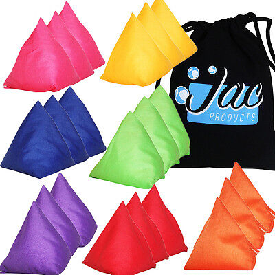 Set of 3 Jac Products UK Made Juggling Tri-It Pyramid Beanbags + 100% Cotton Bag