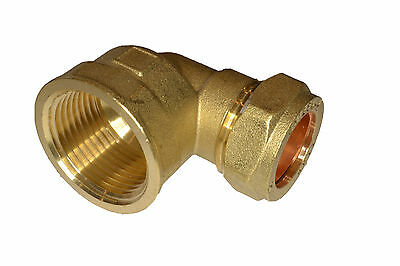 "15mm x 1/2"" Brass Female Compression Elbow"