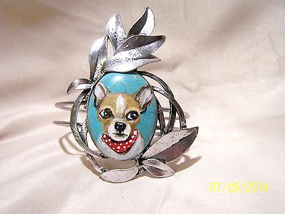 hand painted Chihuahua painting on natural turquoise stone silver   bracelet