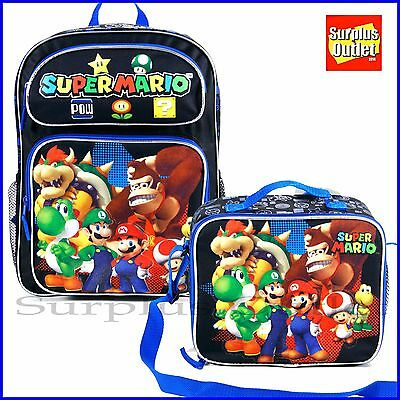 "Super Mario 16"" Large School Backpack Lunch Bag 2pc Set Book Bag"